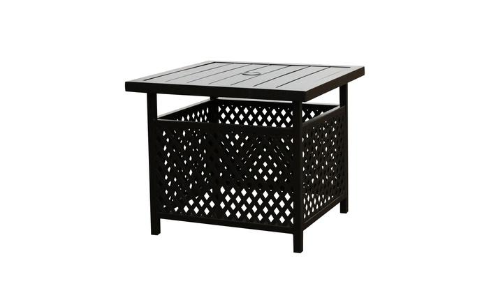 Patio Festival Powder Coated Steel Side Table W Umbrella Hole Groupon