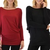 Lyss Loo Women's Long-Sleeve Dolman Tunic Top with Free Leggings
