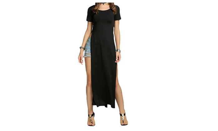 Women's Casual Short Sleeve Sleeveless Long Maxi Dresses