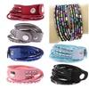 Rhinestone Crystal Multi-Layer Leather Wrap  Bracelets Bangle