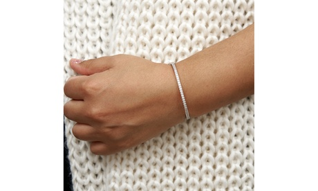 Multi color Rhodium Plated Crystal Bracelet