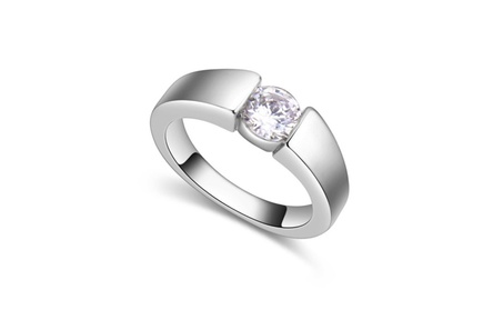 AAA Rhodium Plated Cubic-Zirconia, Bold Silver Ring for Women 02d1d27d-51af-45f0-8ecc-145a09ebcdb2