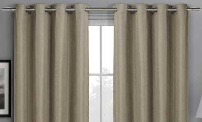 Groupon Gulfport Embossed Blackout Wide Curtain Panels 104 Wx84