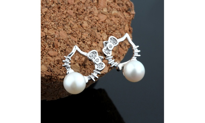 567f02a9c Hello Kitty with Freshwater Pearls 925 Sterling Silver Stud Earrings