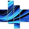 Blue and Black Transition - Modern Wall Art - 63x32 - 4 Panels
