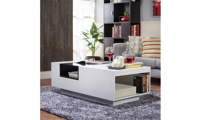 Brewington Two Tone Glass Insert Coffee Table