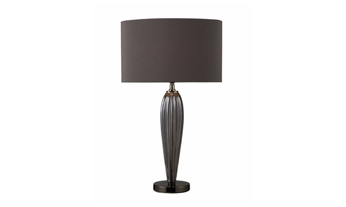 Carmichael Table Lamp In Steel Smoked Glass And Black Nickel