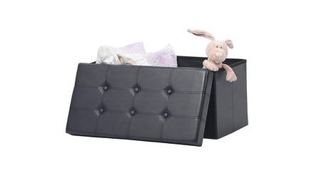 """30"""" Folding Storage Ottoman Bench Footstool Was: $48 Now: $23.99."""