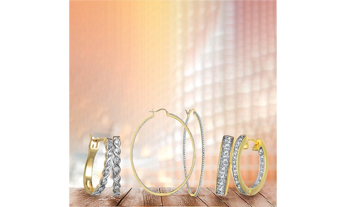 3e8f48521 RelavenO 14K Gold Over Sterling Silver Hoop Earrings | Groupon
