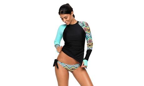 Women's Contrast Detail Long Sleeve Tankini Swimsuit