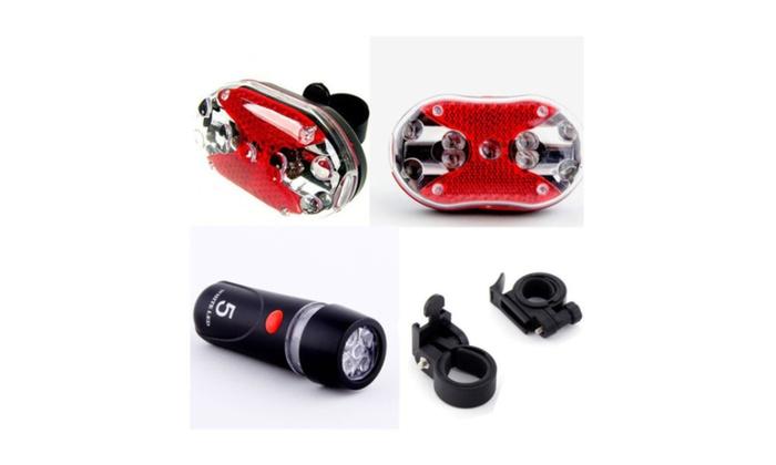 Sale 2x Bicycle Front Back Flashlight + Free LED Head Light