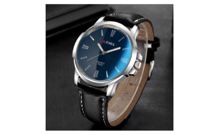Ray Glass Leather Quartz Analog Blue Dial Wrist Watch for Men c891d892-51d6-4dd5-af5c-bcca60b165f6
