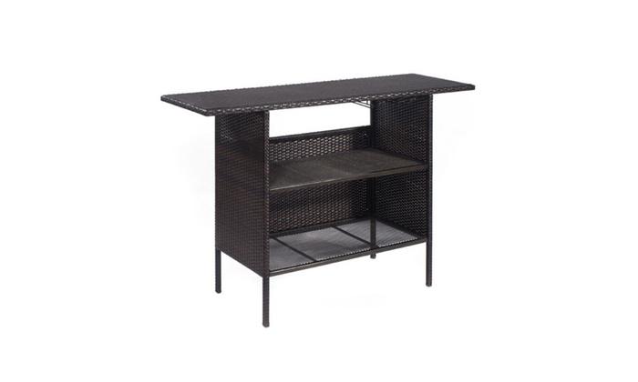 7f8cea6a727d Outdoor Rattan Wicker Bar Counter Table Shelves Garden Patio ...