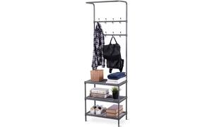 Metal Entryway Coat Hat Shoes Rack 3 Tier Storage Shelf 16 Hooks