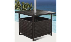 Rattan Wicker Steel Side Table Outdoor Furniture Deck Garden Patio