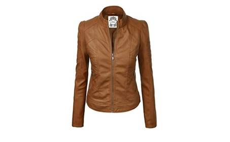 Womens Faux Leather Zip Up Moto Biker Jacket With Stitching Detail 013ac1e3-d16a-4acb-9841-23733b0bbdbe