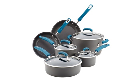 Rachael Ray Hard-Anodized Cookware Set 10pc Gray with Marine Blue d961dc43-c886-494a-9da6-6dd7f34cda9d