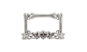Skull Flame Chrome Plated Die Cast Zinc Motorcycle License Plate Frame