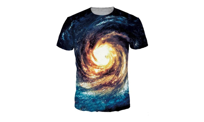 4PING Men's Swirl Starry Sky Digital Printing T-shirt Sports Tees