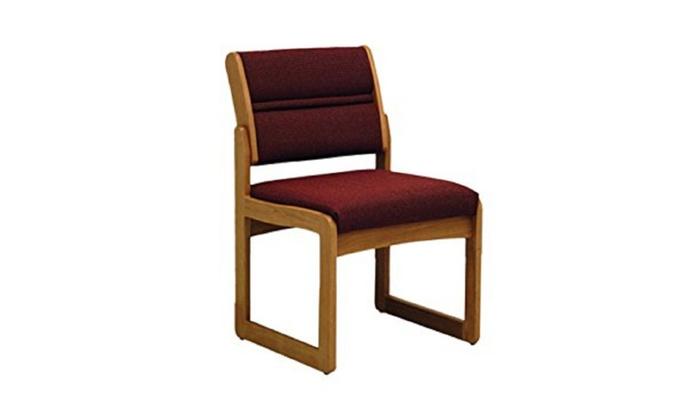 Ordinaire Wooden Mallet Valley Guest Chair, Medium Oak   Cabernet Burgundy