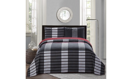 All American Collection New 3pc Plaid Printed Reversible Bedspread//Quilt Set Queen//Full Size Pillow Sham