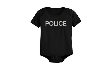 Police Pre-shrunk Cotton Snap-on Style Baby Onesie in Black