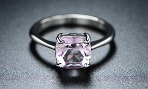 Genuine Pink Amethyst Asscher Cut Solitaire Ring by Peermont