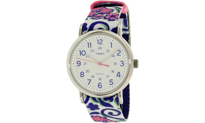 5ee6f3c0e Timex Women's Weekender Reversible Blue Swirl Nylon Slip-Thru Strap ...