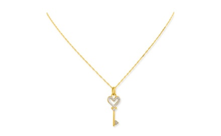 IceCarats Designer Jewelry 10K Rhodium Heart Key Charm With 18 Inch Gold Filled Chain