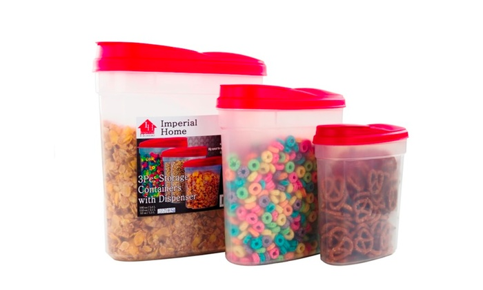 Plastic Cereal Dispenser 3 Piece Set   Food Storage Containers ...