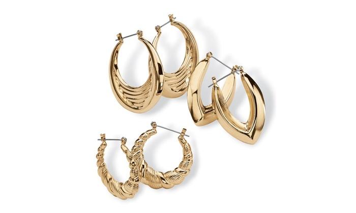 26 Off On 3 Pair Hoop Earrings Set In Y Groupon Goods