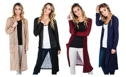 Lyss Loo Women's Long Cardigan With Pockets