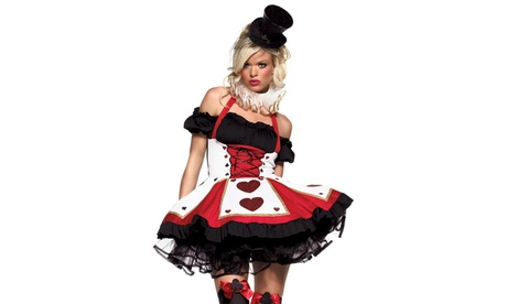 Leg Avenue Women's Pretty Playing Card Dress Sexy Hearts Halloween Costume