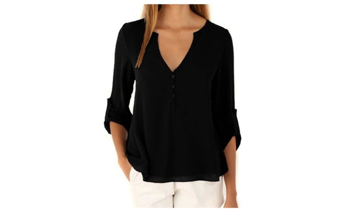 Women's V-Neck Button Dip Back Pleated Blouse Tops