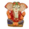 White Metal Hand Painted Lucky Charm Lord Ganesha Statue - 5.5 Inch