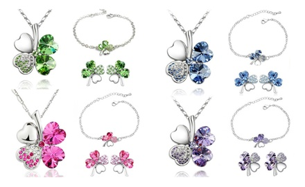 KATGI 18K White Gold Plated Austrian Crystal Lucky Charm Four Leaf Clover Necklace, Bracelet & Earrings SET