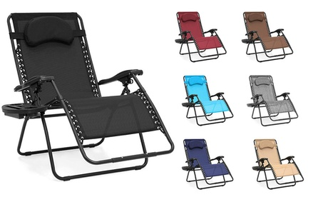 Oversized Folding Mesh Zero Gravity Recliner Chair w/ Accessory Tray & Pillow