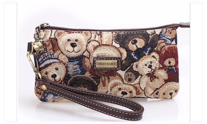 Animal print canvas wallet or phone bag