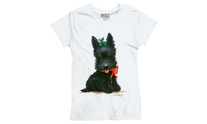 Christmas Scottish Terrier Puppy Holly Ladies T-Shirt