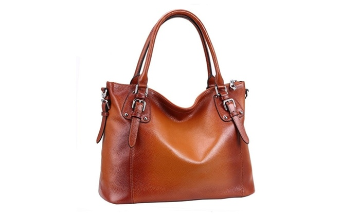 Women's Leather Vintage Shoulder And Cross Body Tote Bag