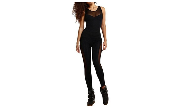 Women Cut Out Skinny Bodycon Mesh Patchwork Yoga Jumpsuits
