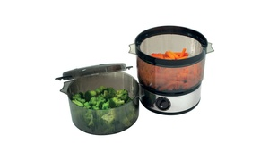 Chef Buddy Food Steamer Includes Timer and Two Containers