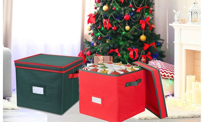 Christmas Ornament Storage Box with Lid-Hold up to 64 Ornaments