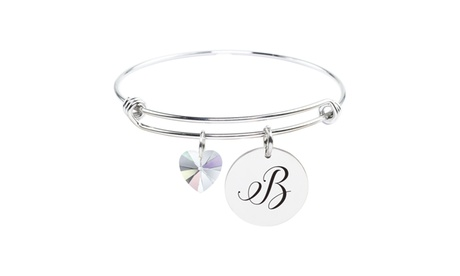 Pink Box Stainless Steel Initial Bracelet made with Crystals from Swarovski