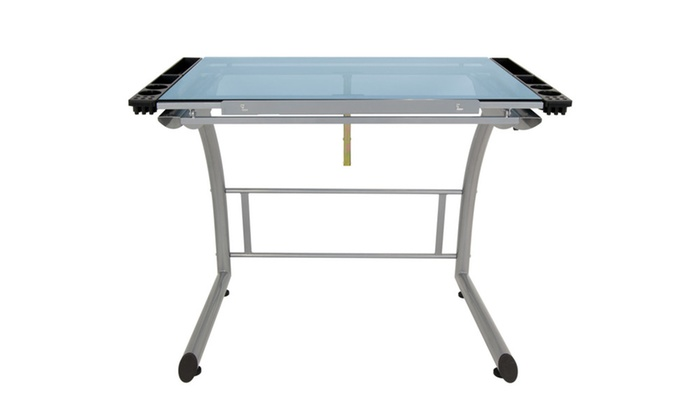 Studio Triflex Drawing Table, Sit To Stand Up Desk Silver/Blue Glass ...