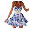 SUNNOW Womens Summer Straps Sleeveless Floral Printed Skater Short Dress