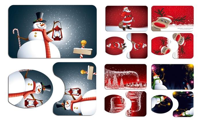 Bathroom Mats Set 3Pcs Father Christmas and Snowman Pattern Bath Mat Toilet Rug