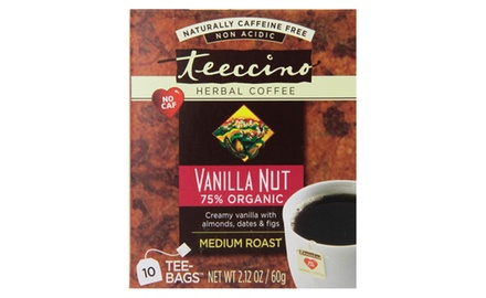 Teeccino Vanilla Nut Herbal Coffee Alternative, Caffeine Free, Acid Free, (Pack of 60 bags)
