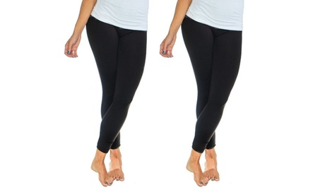 2-Pack Ladies Solid Fleece Lined Leggings eb408951-e363-4344-bd32-3374dc3ed207