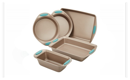 Rachael Ray Nonstick Bakeware 5-Piece Set, Latte Brown with Blue Grips 8a96658d-6074-4293-8887-4ce367c6f6ac